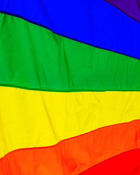 A pride flag in the summer sunlight