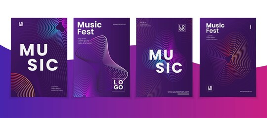 Electronic music poster design. Sound flyer with abstract gradient dotted shape. Circle of wave particles. set bundle
