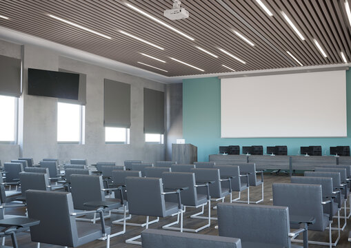 3d rendering of conference hall with turquoise wall