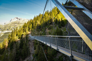Obraz Suspension bridge on Bisse du Ro walking trail near Crans Montana in canton of Valais - fototapety do salonu