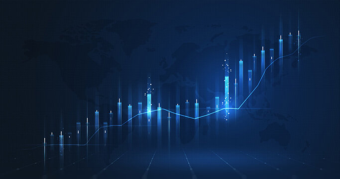 Market chart of business increase stock graph or investment financial data profit on growth money diagram background with success diagram exchange information.