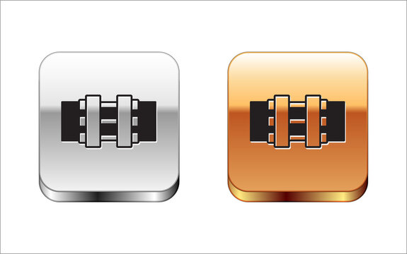 Black Industry metallic pipes and valve icon isolated on white background. Silver and gold square buttons. Vector