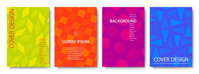 Obraz Set of Colorful Geometric Backgrounds. Vector Cover Design Templates. - fototapety do salonu