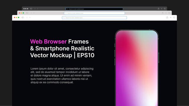 Web Browser Wireframe and Smartphone Realistic Gradient Vector Mockup. Horizontal Slide For Presentation. Vector illustration