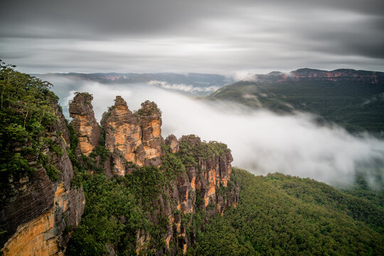 Winter rain at the famous three sisters