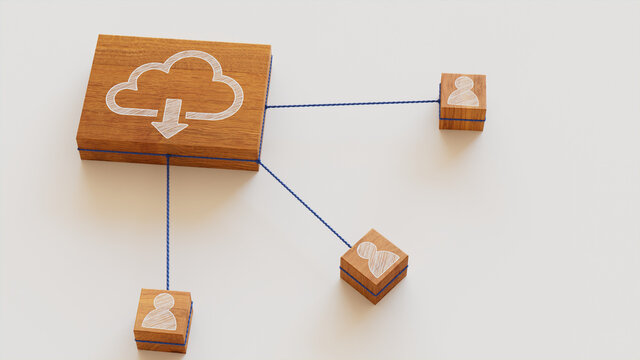 Data storage Technology Concept with cloud download Symbol on a Wooden Block. User Network Connections are Represented with Blue string. White background. 3D Render.