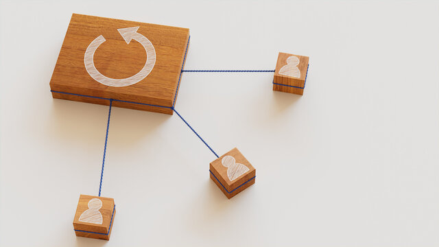 Reload Technology Concept with refresh Symbol on a Wooden Block. User Network Connections are Represented with Blue string. White background. 3D Render.