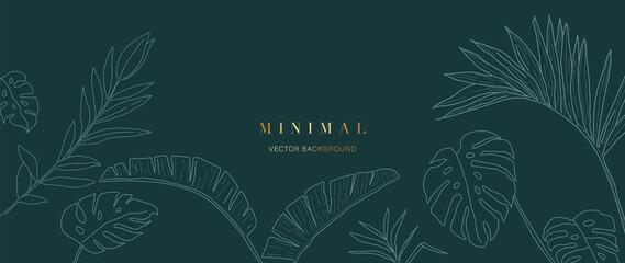 Obraz Minimal green tropical leaves background vector. - fototapety do salonu