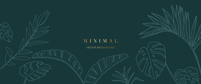 Minimal green tropical leaves background vector.
