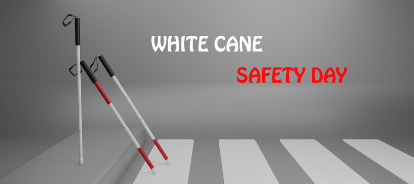 White Cane Safety Day, Help take of the blind by paving the way, White cane international day concept, Realistic illustration of white cane safety for web design,15 October, illustration, 3d rendering