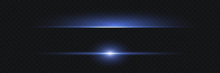 Fototapeta Blue horizontal lens flares pack. Laser beams, horizontal light rays.Beautiful light flares. Glowing streaks on dark background. Luminous abstract sparkling lined background. obraz