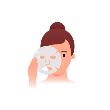 Skincare - Woman applying facial sheet mask. Flat style. Skin care daily routine