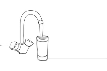 Continuous one line of pouring glass of water from kitchen faucet in silhouette on a white background. Linear stylized.Minimalist.