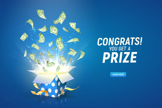 Win prize. Online casino gambling game vector illustration advertising. Open textured gift box with paper money explosion out on the blue background.