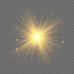 Obraz The dust sparks and golden stars shine with special light. Vector sparkles on a transparent background. Christmas light effect. - fototapety do salonu