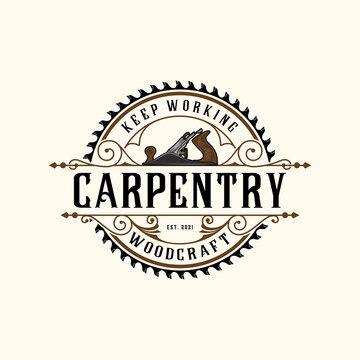 carpentry saw retro logo
