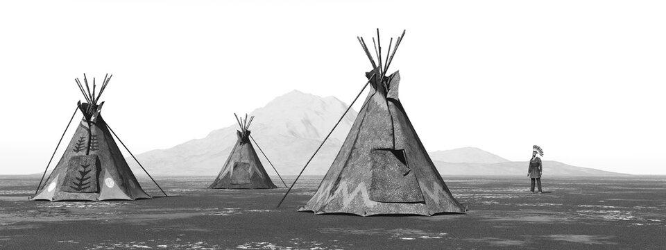 Indianerlager in einer Landschaft