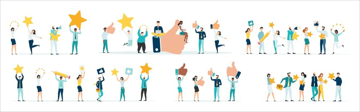 Customer feedback, testimonial, online survey concept. Group of people rating customer experience, writing review, leaving feedback. Client, user satisfaction. Set Isolated flat vector illustration.