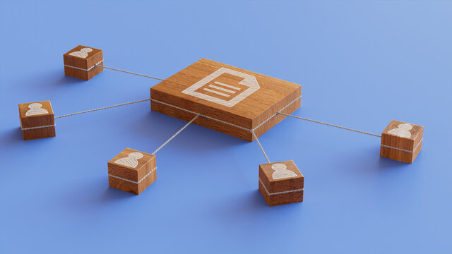 Word document Technology Concept with document Symbol on a Wooden Block. User Network Connections are Represented with White string. Blue background. 3D Render.
