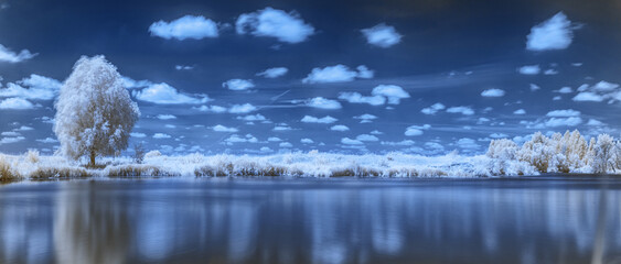 Near infrared photography of beautiful river bank in and clouds in the sky. Picture was taken with infrared-pass filter.