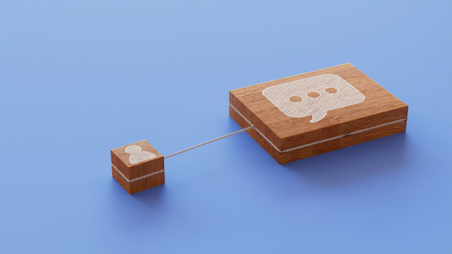 Text Technology Concept with sms Symbol on a Wooden Block. User Network Connections are Represented with White string. Blue background. 3D Render.