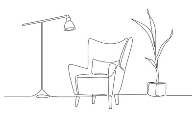 One continuous Line drawing of armchair and lamp and potted plant. Stylish furniture for living room interior in simple linear style. Editable stroke Vector illustration