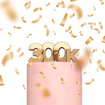 300k social media followers or subscribers celebration background. 3D Rendering