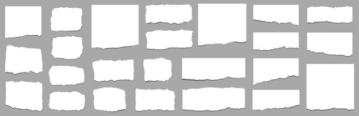 Obraz Torn sheets of paper. Torn paper strips. Vector - fototapety do salonu