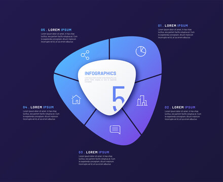Vector circular infographic template in the form of abstract shape divided by five parts
