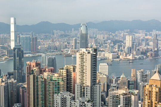 Skyline and skyscrapers of the city of Hong Kong