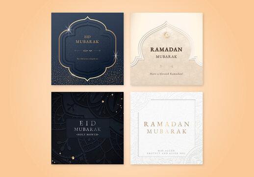 Social Media Post Festive Eid Mubarak Template