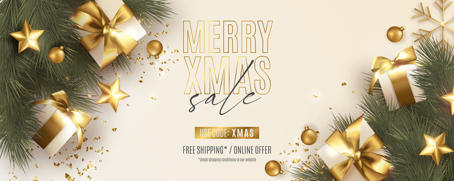 modern christmas banner with realistic christmas decoration