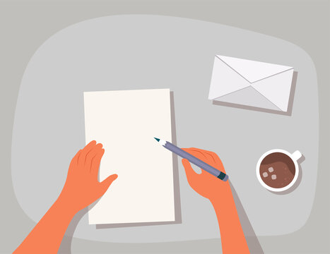 Hands are holding a pencil and writing a letter. Top view of the table surface. Sending a written letter or correspondence through the postal service. Flat cartoon colorful vector illustration