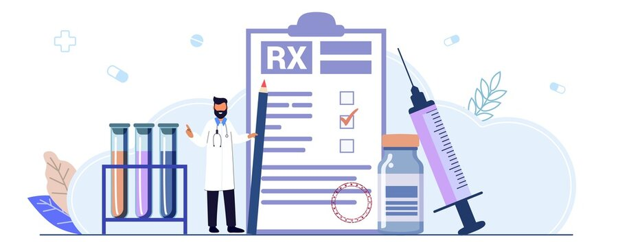 RX medical prescription drug vector illustration concept Medicine prescription with medicines Prescription form Doctor writes signature in recipe Disease therapy pills Painkiller drugs Pharmacy