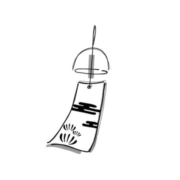 hand drawn illustration of a wind charm in simple icon drawing