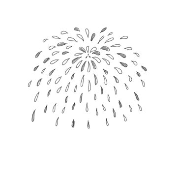 hand drawn illustration of fireworks in simple icon drawing