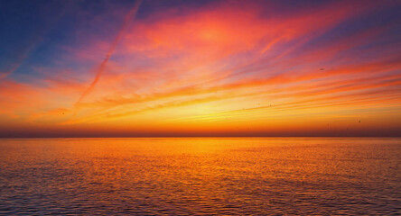 Calm sea during a scenic sunset