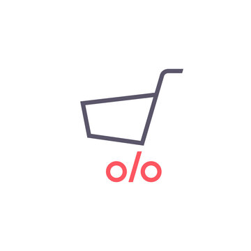 Shopping cart With Percentage icon, Vector Sale symbol, Discount logo