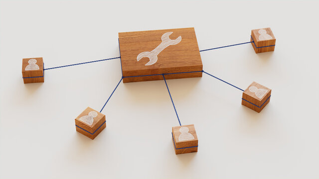 Configure Technology Concept with tool Symbol on a Wooden Block. User Network Connections are Represented with Blue string. White background. 3D Render.