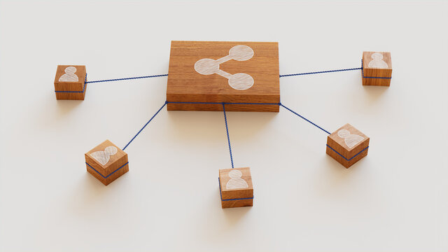 Network Technology Concept with share Symbol on a Wooden Block. User Network Connections are Represented with Blue string. White background. 3D Render.