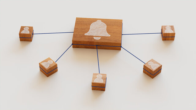 Alert Technology Concept with bell Symbol on a Wooden Block. User Network Connections are Represented with Blue string. White background. 3D Render.