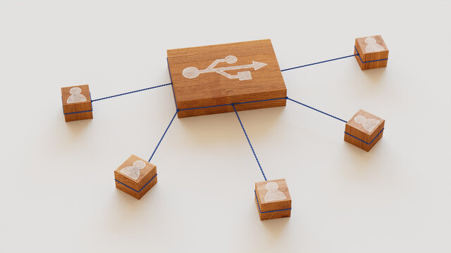 Interface Technology Concept with usb Symbol on a Wooden Block. User Network Connections are Represented with Blue string. White background. 3D Render.