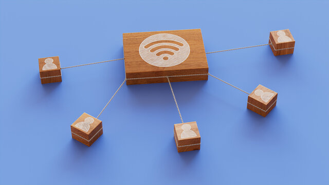 Wireless Technology Concept with wifi Symbol on a Wooden Block. User Network Connections are Represented with White string. Blue background. 3D Render.