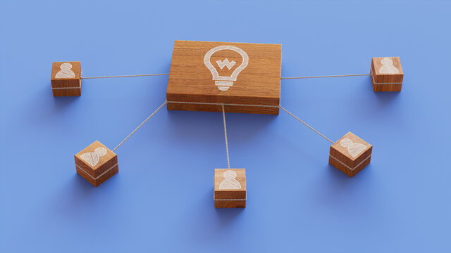 Innovation Technology Concept with lightbulb Symbol on a Wooden Block. User Network Connections are Represented with White string. Blue background. 3D Render.