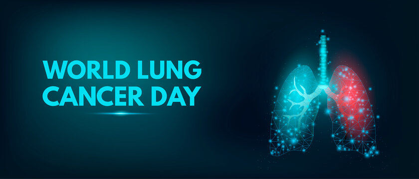 World Lung Cancer Day concept. Banner template with glowing low poly lungs. Futuristic modern abstract. Isolated on dark background. Vector illustration.