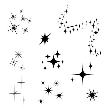 Black Shooting Stars with Elegant Star Trail on White Background. Icons of different forms.