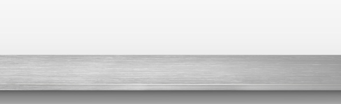 Metal kitchen countertop, iron texture, large table on a white background - Vector