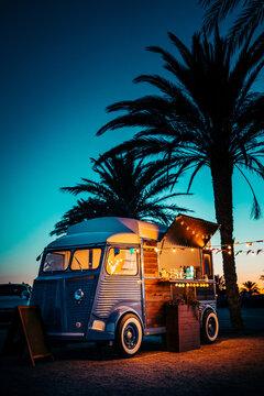 Food truck on sunset