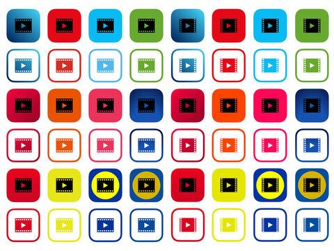 【VODサービス】角丸映画再生ボタンアプリアイコンセットA(2アイコン×2パターン×12色)