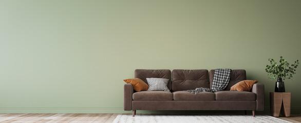 Obraz Simple minimal modern style interior, brown sofa on green wall background, 3d render - fototapety do salonu